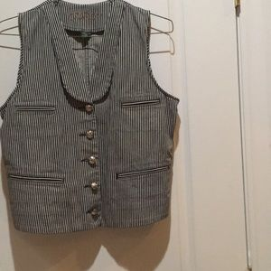 Women's stripped denim vest